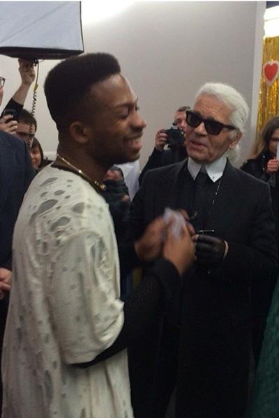 Adebayo Oke-Lawal meeting Karl Lagerfeld