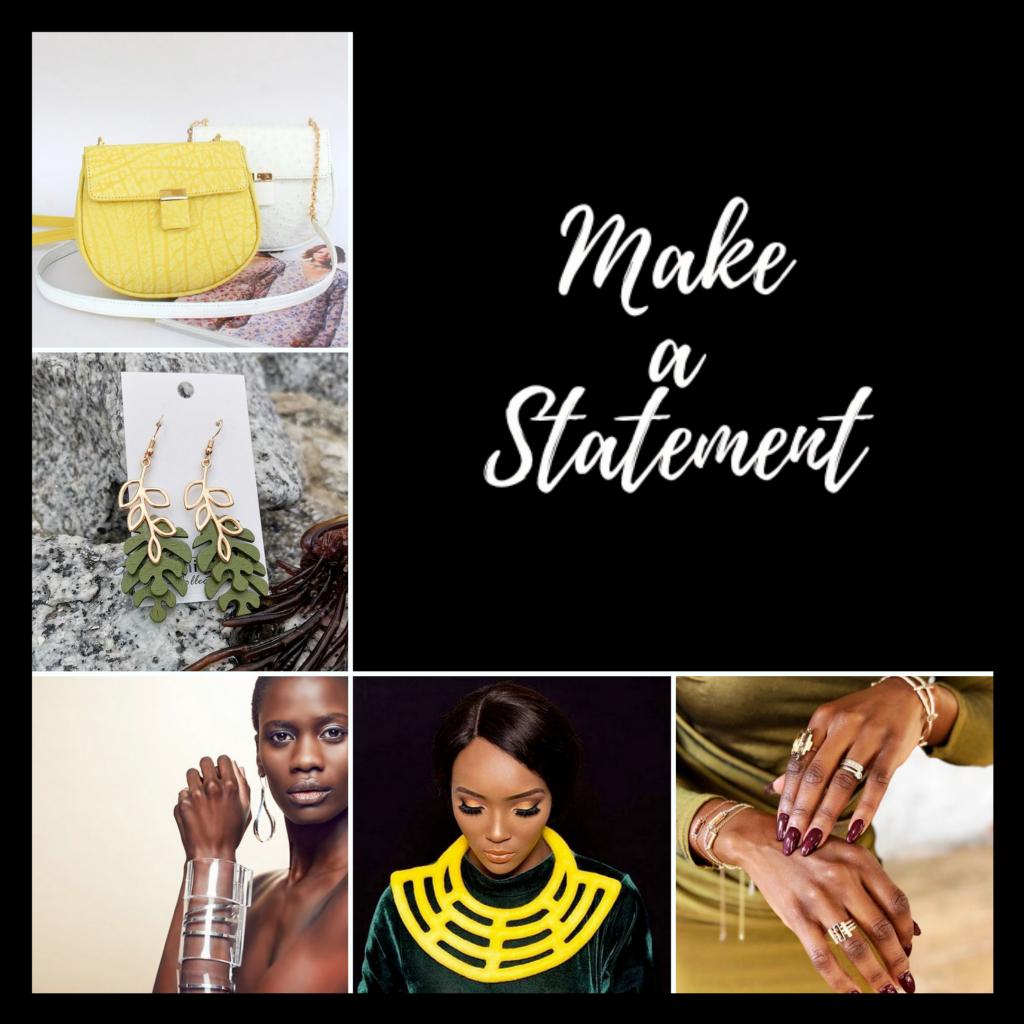Statement accessories: earrings, bags, bracelets, necklaces, neckpieces